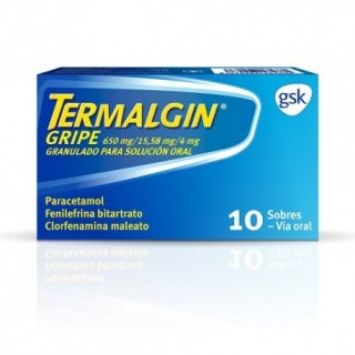 TERMALGIN GRIPE 650 mg/15,58 mg/4 mg 10 SOBRES GRANULADO PARA SOLUCION ORAL