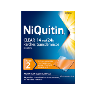 NIQUITIN CLEAR 14 MG/24 H 14 PARCHES TRANSDERMICOS 78 MG