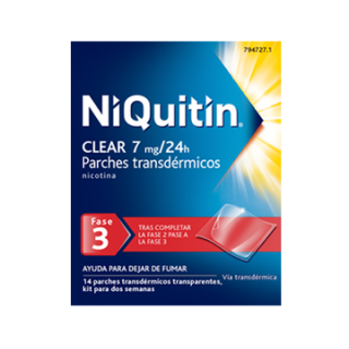 NIQUITIN CLEAR 7 MG/24 H 14 PARCHES TRANSDERMICOS 36 MG
